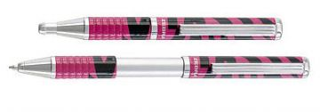 ZEBRA EXPANDZ BALLPOINT PEN BLACK INK in GIFT BOX - PINK & BLACK STRIPE